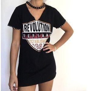 REVOLUTION band print choker t shirt tunic 4/6